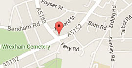 Map showing location of Ruabon Road Dental Practice in Wrexham