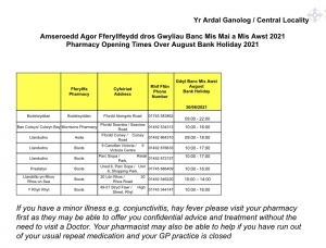 Pharmacy Opening Hours August Bank Holiday