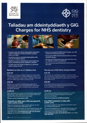 Charges for NHS Dentistry